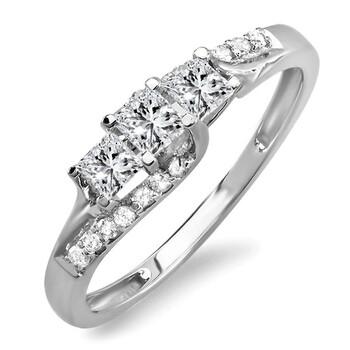 trang sức Dazzling Rock Nữ Vàng trắng 14K Silver-tone Kim cương Nhẫn đính hôn chính hãng sale giá rẻ tại Hà nội TPHCM