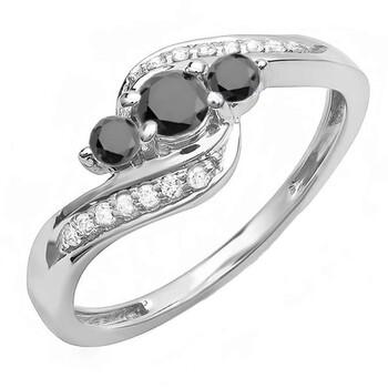 trang sức Dazzling Rock Dazzlingrock Collection 0.50 Carat (ctw) 14K Round Đen & Trắng Kim cương Nữ Swirl 3 Stone Bridal Nhẫn đính hôn 1/2 CT, Vàng trắng, chính hãng sale giá rẻ tại Hà nội TPHCM