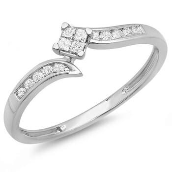 Trang sức Dazzling Rock Dazzlingrock Collection 0.23 Carat (ctw) 10k Round & Princess Cut Kim cương Nữ Engagement Bridal Nhẫn 1/4 CT