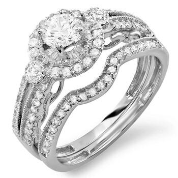 trang sức Dazzling Rock Nữ Vàng trắng 14K Round Cut Silver-tone Wedding Set Nhẫn chính hãng sale giá rẻ tại Hà nội TPHCM