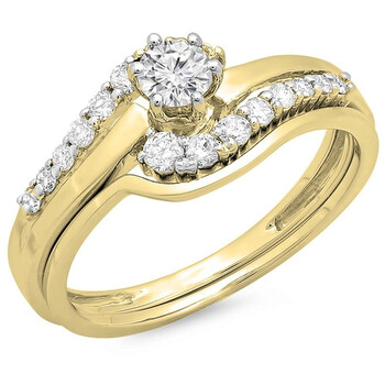 Dazzling Rock Dazzlingrock Collection 0.55 Carat (ctw) 14K Round Kim cương Nữ Twisted Style Bridal Nhẫn Set 1/2 CT, Yellow Gold