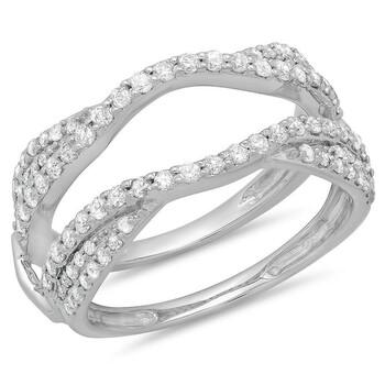 Trang sức Dazzling Rock Dazzlingrock Collection 0.75 Carat (ctw) 10K Round Kim cương Wedding Enhancer Guard Double Nhẫn 3/4 CT