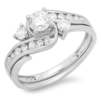 Trang sức Dazzling Rock Nữ Vàng trắng 14K Round Cut Silver-tone Kim cương Wedding Set Nhẫn chính hãng sale giảm giá sỉ rẻ nhất ở Hà nội TPHCM