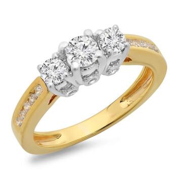 Trang sức Dazzling Rock Dazzlingrock Collection 1.00 Carat (ctw) 14K Two Tone Gold Round Cut Kim cương Nữ 3 Stone Bridal Nhẫn đính hôn 1 CT