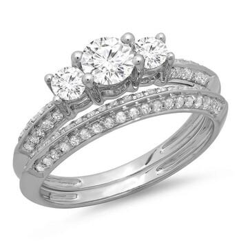 Trang sức Dazzling Rock Nữ Vàng trắng 14K Silver-tone Wedding Set Nhẫn chính hãng sale giá rẻ Hà nội TPHCM
