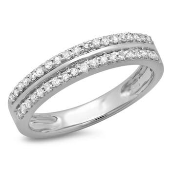 trang sức Dazzling Rock Dazzlingrock Collection 0.33 Carat (ctw) 14K Round Cut Kim cương Double Row Anniversary Wedding Band 1/3 CT, Vàng trắng, chính hãng sale giá rẻ tại Hà nội TPHCM