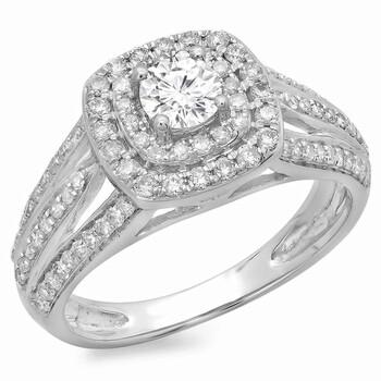 Trang sức Dazzling Rock Nữ 10k Gold Round Cut Silver-tone Kim cương Nhẫn đính hôn chính hãng sale giảm giá sỉ rẻ nhất ở Hà nội TPHCM