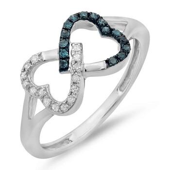 Trang sức Dazzling Rock Nữ 925-Sterling Bạc 925 Round Cut Blue Promise Nhẫn chính hãng sale giá rẻ Hà nội TPHCM