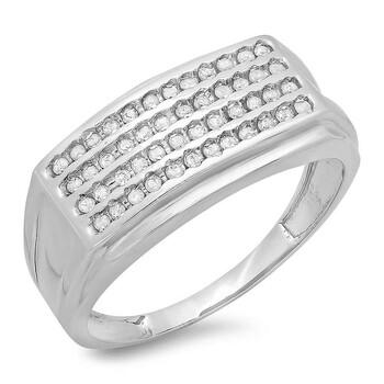 trang sức Dazzling Rock Dazzlingrock Collection 0.48 Carat (ctw) Bạc 925 Round Kim cương trắng Nam Hip Hop Wedding Band chính hãng sale giá rẻ tại Hà nội TPHCM
