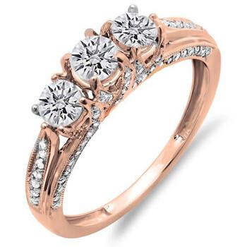 Trang sức Dazzling Rock Nữ Vàng hồng 14K Round Cut Silver-tone Kim cương Nhẫn đính hôn chính hãng sale giá rẻ Hà nội TPHCM