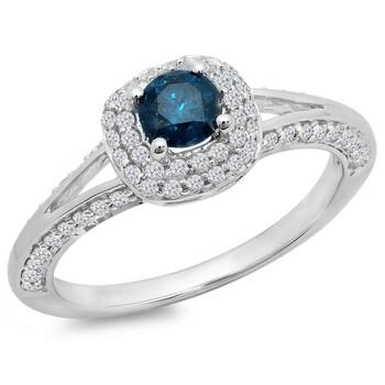 Trang sức Dazzling Rock Nữ Vàng trắng 14K Round Cut Kim cương xanh Nhẫn đính hôn chính hãng sale giá rẻ Hà nội TPHCM