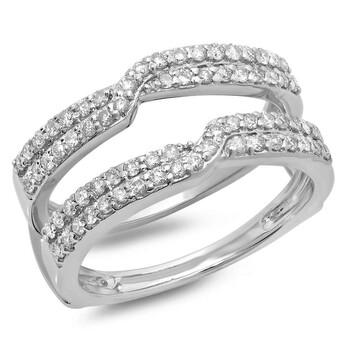 trang sức Dazzling Rock Dazzlingrock Collection 0.65 Carat (ctw) 14K Round Cut Kim cương Nữ Wedding Enhancer Guard Double Nhẫn, Vàng trắng, chính hãng sale giá rẻ tại Hà nội TPHCM