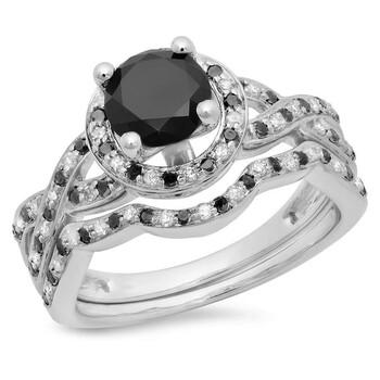 Trang sức Dazzling Rock Nữ Vàng trắng 14K Round Cut Kim cương đen Wedding Set Nhẫn chính hãng sale giá rẻ Hà nội TPHCM
