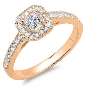 trang sức Dazzling Rock Nữ Vàng hồng 18K Princess Cut Silver-tone Kim cương Nhẫn đính hôn chính hãng sale giá rẻ tại Hà nội TPHCM