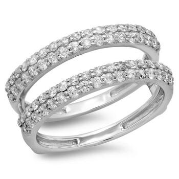 trang sức Dazzling Rock Dazzlingrock Collection 0.90 Carat (ctw) 10K Round Cut Kim cương Nữ Anniversary Wedding Double Nhẫn, Vàng trắng chính hãng sale giá rẻ tại Hà nội TPHCM