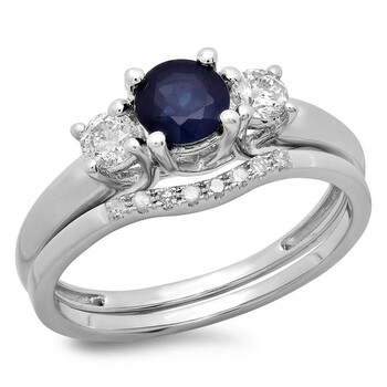Trang sức Dazzling Rock Nữ Vàng 14K Blue Sapphire Wedding Set Nhẫn chính hãng sale giá rẻ Hà nội TPHCM