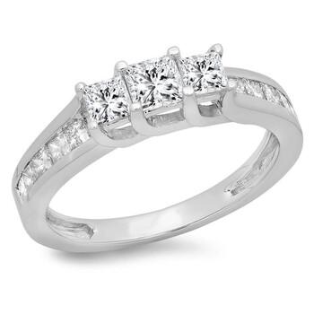 Trang sức Dazzling Rock Nữ Vàng trắng 14K Princess Cut Silver-tone Kim cương Nhẫn đính hôn chính hãng sale giảm giá sỉ rẻ nhất ở Hà nội TPHCM