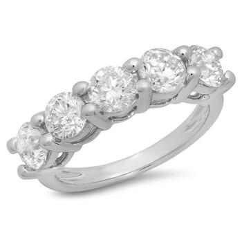 trang sức Dazzling Rock Dazzlingrock Collection 2.00 Carat (ctw) 14K Round Kim cương trắng 5 Stone Bridal Wedding Band Nhẫn 2 CT, Vàng trắng, chính hãng sale giá rẻ tại Hà nội TPHCM