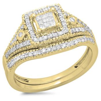 Trang sức Dazzling Rock Nữ Vàng 14K Princess Cut Silver-tone Kim cương Wedding Set Nhẫn chính hãng sale giảm giá sỉ rẻ nhất ở Hà nội TPHCM