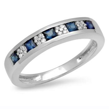 trang sức Dazzling Rock Dazzlingrock Collection 14K Round & Princess Kim cương trắng & Blue Sapphire Anniversary Wedding Band Nhẫn, Vàng trắng, chính hãng sale giá rẻ tại Hà nội TPHCM