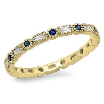Trang sức Dazzling Rock Dazzlingrock Collection 14K Blue Sapphire & Kim cương trắng Nữ Vintage Wedding Eternity Stackable Nhẫn