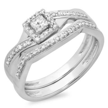 Trang sức Dazzling Rock Nữ Vàng trắng 10K Princess Cut Silver-tone Kim cương Wedding Set Nhẫn chính hãng sale giảm giá sỉ rẻ nhất ở Hà nội TPHCM
