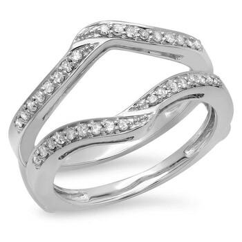 Trang sức Dazzling Rock Nữ Vàng trắng 14K Round Cut Silver-tone Nhẫn cưới chính hãng sale giá rẻ Hà nội TPHCM