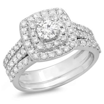 Trang sức Dazzling Rock Dazzlingrock Collection 1.50 Carat (ctw) 10K Round Kim cương Halo Style Bridal Nhẫn đính hôn Set 1 1/2 CT, Vàng trắng, chính hãng sale giảm giá sỉ rẻ nhất ở Hà nội TPHCM