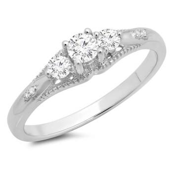 Trang sức Dazzling Rock Dazzlingrock Collection 0.35 Carat (ctw) 10K Round Kim cương trắng Bridal 3 Stone Nhẫn đính hôn 1/3 CT