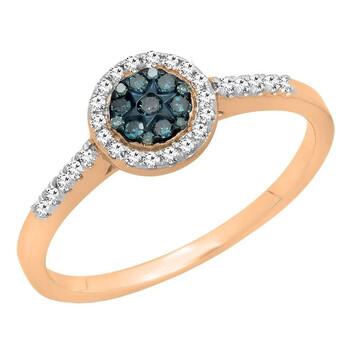 Trang sức Dazzling Rock Nữ Vàng hồng 10K Round Cut Kim cương xanh Nhẫn đính hôn chính hãng sale giá rẻ Hà nội TPHCM
