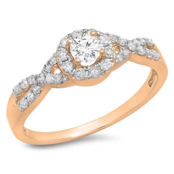Trang sức Dazzling Rock Dazzlingrock Collection 0.50 Carat (ctw) 14K Roes Gold Round Kim cương Engagement Halo Swirl Bridal Nhẫn 1/2 CT