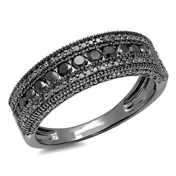 Trang sức Dazzling Rock Dazzlingrock Collection 1.25 Carat (Ctw) Đen Rhodium mạ 10K Kim cương đen Wedding Millgrain Band, Vàng trắng chính hãng sale giảm giá sỉ rẻ nhất ở Hà nội TPHCM