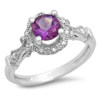 trang sức Dazzling Rock Dazzlingrock Collection 14K Round Cut Amethyst & Kim cương trắng Nữ Bridal Halo Vintage Nhẫn đính hôn, Vàng trắng chính hãng sale giá rẻ tại Hà nội TPHCM