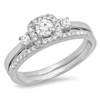 trang sức Dazzling Rock Nữ Vàng trắng 14K Round Cut Silver-tone Kim cương Wedding Set Nhẫn chính hãng sale giá rẻ tại Hà nội TPHCM
