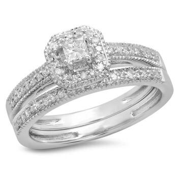 trang sức Dazzling Rock Nữ Vàng trắng 14K Princess Cut Silver-tone Kim cương Nhẫn cưới chính hãng sale giá rẻ tại Hà nội TPHCM