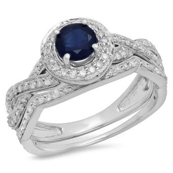 Trang sức Dazzling Rock Nữ Vàng trắng 14K Round Cut Blue Sapphire Nhẫn cưới chính hãng sale giảm giá sỉ rẻ nhất ở Hà nội TPHCM