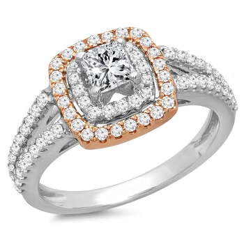 Trang sức Dazzling Rock Nữ Vàng 14K Princess Cut Silver-tone Kim cương Nhẫn đính hôn chính hãng sale giảm giá sỉ rẻ nhất ở Hà nội TPHCM