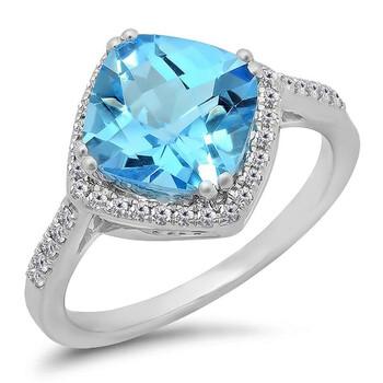 Trang sức Dazzling Rock Dazzlingrock Collection 14K Cushion Cut Blue Topaz & Round Cut Kim cương trắng Bridal Halo Nhẫn đính hôn, Vàng trắng chính hãng sale giảm giá sỉ rẻ nhất ở Hà nội TPHCM