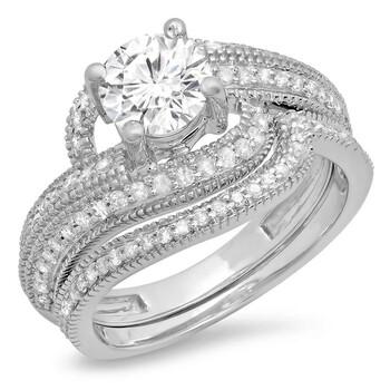 Trang sức Dazzling Rock Dazzlingrock Collection 1.25 Carat (Ctw) 14K Round Cut Kim cương Nữ Bridal Nhẫn đính hôn Set 1 1/2 CT