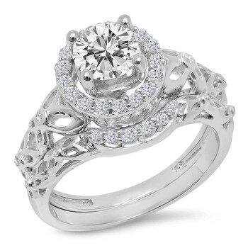 Trang sức Dazzling Rock Dazzlingrock Collection 1.15 Carat (ctw) 14K Kim cương trắng Nữ Bridal Vintage Halo Nhẫn đính hôn Set