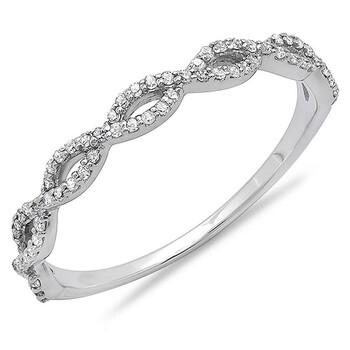 Trang sức Dazzling Rock Nữ Vàng trắng 14K Round Cut Silver-tone Kim cương Nhẫn cưới chính hãng sale giá rẻ Hà nội TPHCM
