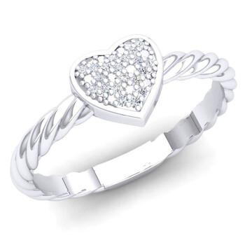 Trang sức Dazzling Rock Nữ 925-Sterling Bạc 925 Round Cut Silver-tone Kim cương Promise Nhẫn chính hãng sale giá rẻ Hà nội TPHCM