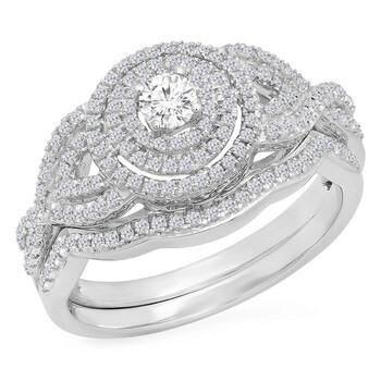 Trang sức Dazzling Rock Dazzlingrock Collection 0.55 Carat (Ctw) 10K Kim cương trắng Nữ Bridal Halo Nhẫn đính hôn Set 1/2 CT