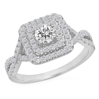 Trang sức Dazzling Rock Dazzlingrock Collection 0.85 Carat (ctw) 14K Round Kim cương trắng Nữ Swirl Bridal Halo Nhẫn đính hôn