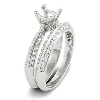 Trang sức Dazzling Rock Nữ Vàng trắng 14K Round Cut Silver-tone Kim cương Wedding Set Nhẫn chính hãng sale giá rẻ Hà nội TPHCM