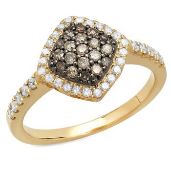 Trang sức Dazzling Rock Nữ Vàng 14K Round Cut Beige Nhẫn đính hôn chính hãng sale giá rẻ Hà nội TPHCM