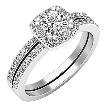 trang sức Dazzling Rock Dazzlingrock Collection 0.90 Carat (ctw) 14K Cushion & Round Kim cương Halo Bridal Nhẫn đính hôn Set, Vàng trắng chính hãng sale giá rẻ tại Hà nội TPHCM