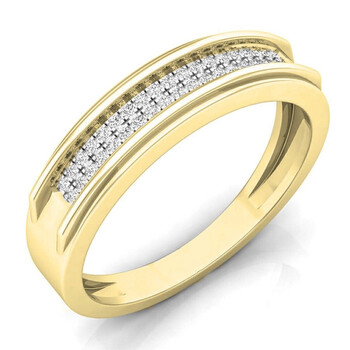 Dazzling Rock Dazzlingrock Collection 0.15 Carat (ctw) 14K Round Kim cương Nam Micro Pave Hip Hop Wedding Band, Yellow Gold,