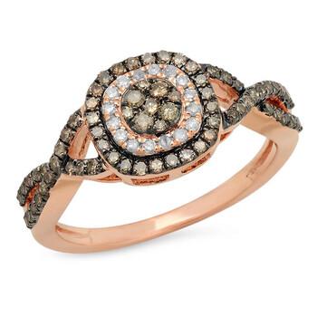 Trang sức Dazzling Rock Dazzlingrock Collection 0.60 Carat (ctw) 14K Round Champagne & Kim cương trắng Bridal Nhẫn đính hôn
