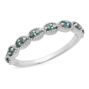 Trang sức Dazzling Rock Nữ 925-Sterling Bạc 925 Round Cut Kim cương xanh Nhẫn cưới chính hãng sale giảm giá sỉ rẻ nhất ở Hà nội TPHCM